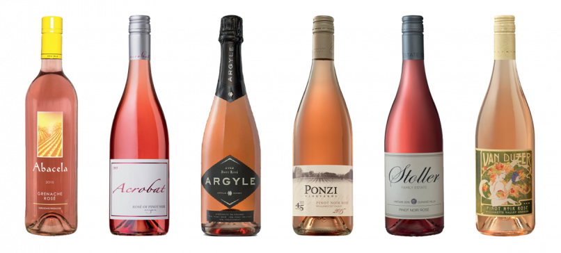 Our Oregon Rosé Picks (L-R):  1) Abacela / 2015 Estate Grenache Rosé, $18, Umpqua Valley 2) Acrobat Winery / 2015 Rosé of Pinot Noir, $13, Oregon 3) Argyle Winery / 2015 Estate Grenache Rosé, $50, Willamette Valley 4) Ponzi Vineyards / 2015 Pinot Noir Rosé, $22, Willamette Valley 5) Stoller Family Estates / 2015 Pinot Noir Rosé, $25, Dundee Hills 6) Van Duzer Vineyards / 2015 Pinot Noir Rosé, $20, Willamette Valley