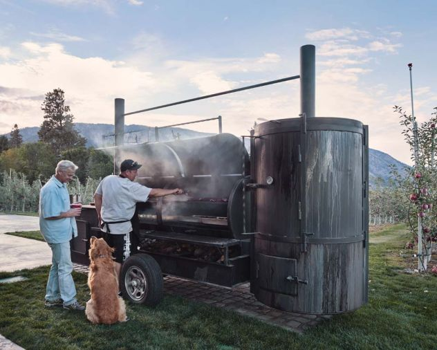 Contractor Beazley is also known for his BBQ expertise. He houses his spectacular smoker at the barn which is used often when the barn plays host to weddings and community events for the fire department, VFW, and Manson High School sports teams.