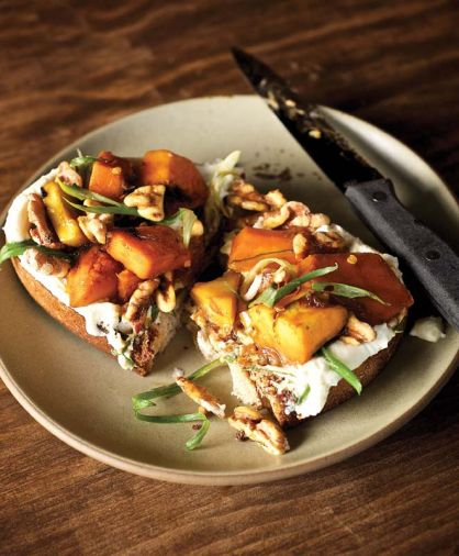 Roasted Squash with Yogurt and Walnuts on Toasted Bread