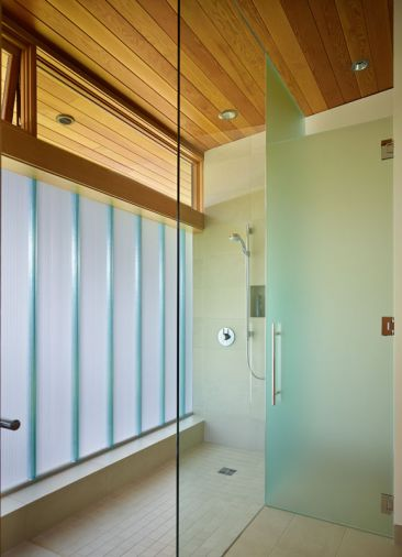 Vertical channel glass shower.