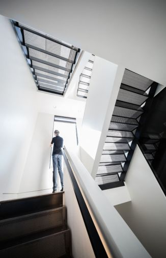 The perforated steel staircase.