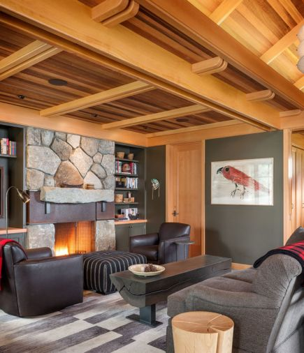 Doug designed a custom interior fireplace incorporating local fieldstone and a steel and I-beam mantle. An eclectic mix of furniture is tied together with cool grey tones, simple lines, and an emphasis on natural materials like leather and wood. Throws showcase classic Filson plaid.