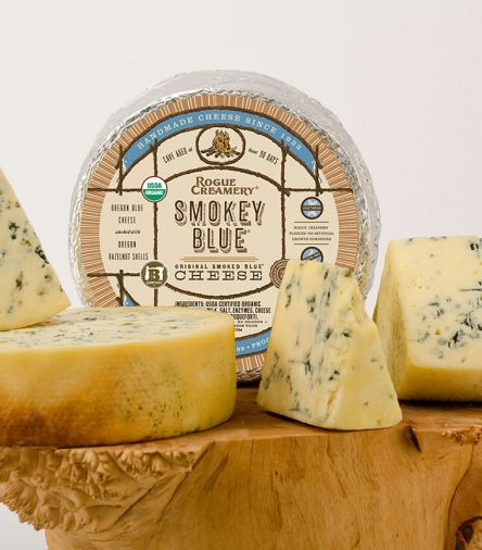 A long, gentle cold-smoking over shells from Oregon hazelnuts infuses Rogue Creamery's Smokey Blue cheese with an added layer of rich flavor and terroir.