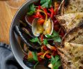 Clams and Mussels with Saffron and Peppers – a San Sebastian inspired dish.