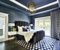 Worlds Away nightstands flank the Bernhardt Interiors bed with custom velvet upholstery trimmed with Art Deco nail heads. Custom drapery fabric by Stacy Garcia Tri-Kes. Visual Comfort Kelly Wearstler chandelier draws eye up toward black painted ceiling. Black wallpaper by MDC Wallcovering adds dramatic texture to the room.