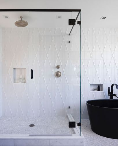 Black tub with Brizio filler from Metro Collections by Hydro Systems. Ann Sacks Modern Criss Cross field tile in Ice.