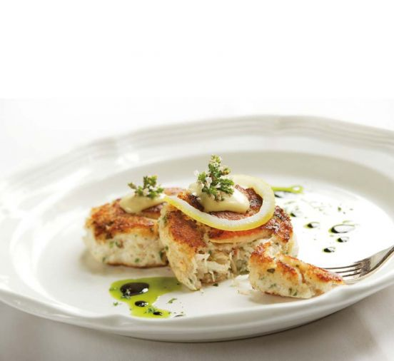 <a href='newmans-at-988-dungeness-crab-cakes'>Dungeness Crab Cakes</a> from chef Mark Newman at Newman&rsquo;s at 988 in Cannon Beach.