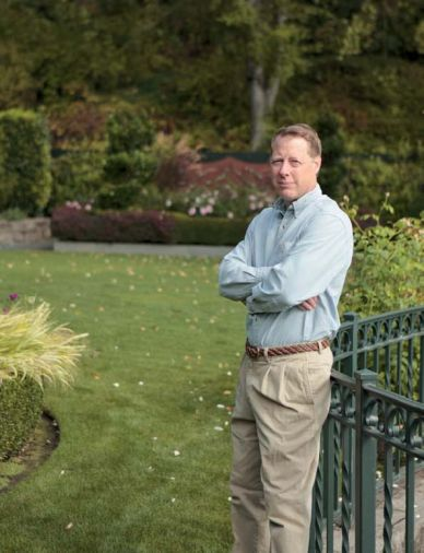 Landscape architect Larry Cavender, ASLA, in the Lake Oswego garden he designed.