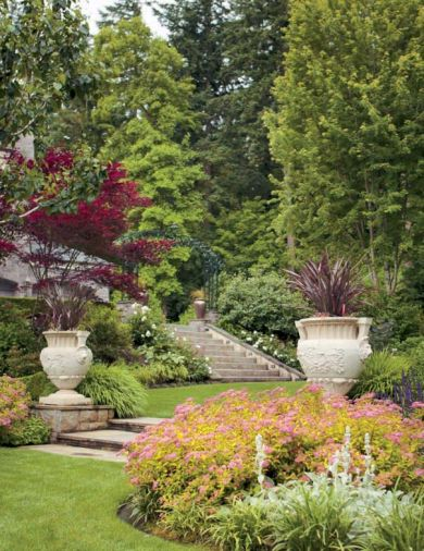 Plants are used instead of more typical garden art to provide living sculpture throughout the garden. Large trees were left in place to link to taller Douglas firs on surrounding lots, and a purple-leafed Japanese maple is easily traced against the house and brighter green surroundings.