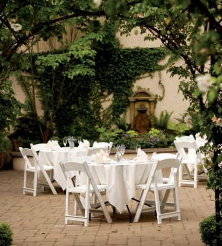The lush garden courtyard at Lark's Restaurant is a popular respite for leisurely dining with friends.