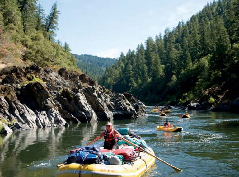 White water rafting along the wild and scenic Rogue River in Southern Oregon. Photo by Justin Bailie.