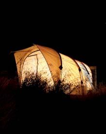 The dinning tent at one of Larimer Outfitters' 3-7 day steelhead camps.