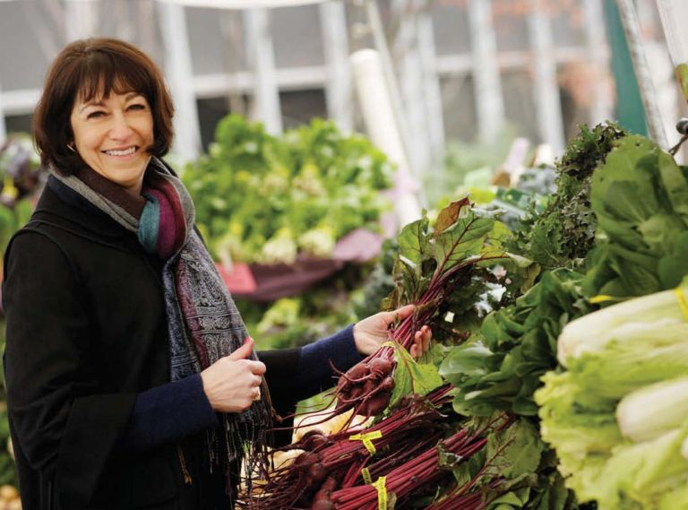 Diane Morgan, the author of Roots: The Definitive Compendium, shopping at the Portland Farmers Market.