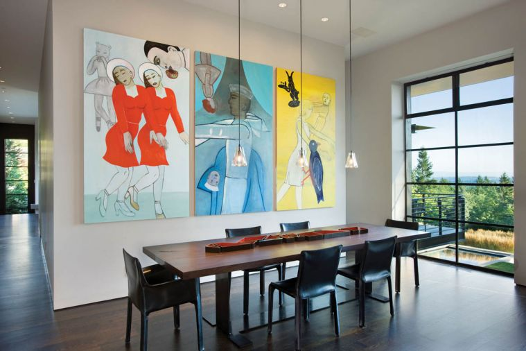 A seven-foot triptych by Fay Jones hung in the business offices of Twist in Portland until it could be hung in the new dining room. Having adequate wall and display space to house the homeowners' art collection was a key consideration in the home's design.