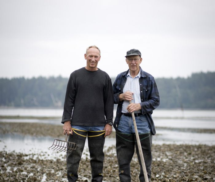 Bill Taylor with his late father, Justin Taylor, the patriarch of Taylor Shellfish Farms, who could be found walking the tide flats most daylight tides up until the age of 90.
