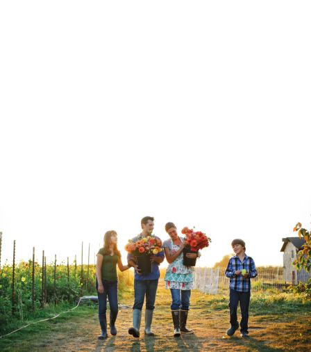 Since 2007, Erin Benzakein and her husband Chris Benzakein, along with her daughter Elora and son Jasper, have tended to flowers on Floret Flower Farm, a 2-acre certified organic flower farm in Washington's Skagit Valley.