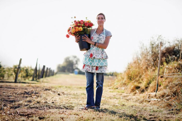Erin Benzakein artfully produces five acres worth of flowers on her family's tiny two acre plot.