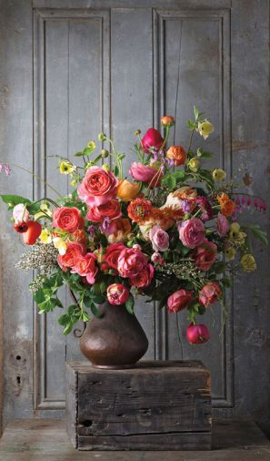 Going Dutch: Finding inspiration in Flemish floral still lifes, a wild and romantic bouquet of garden roses, dogwood, ranunculus, tulips, bleeding hearts and hellebores.