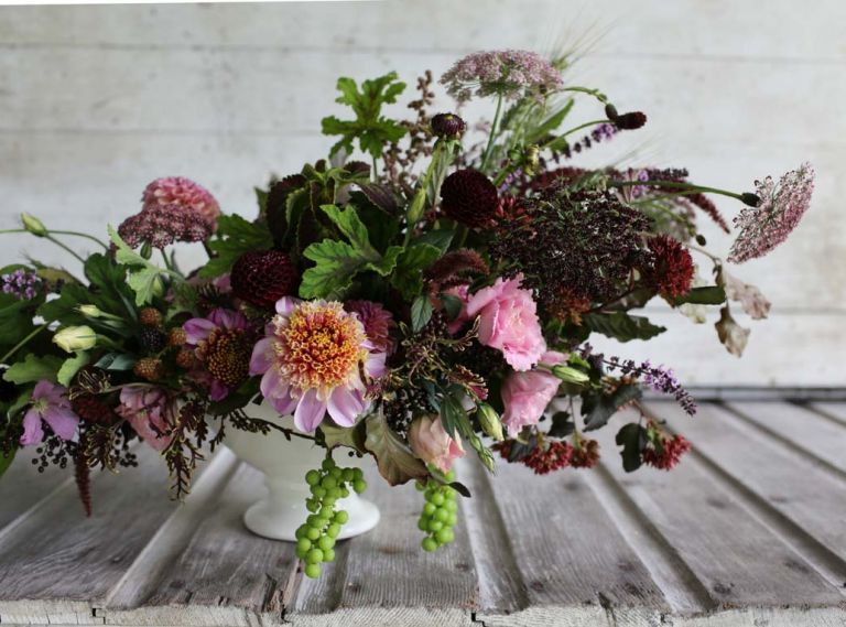 This moody bouquet designed by Erin Benzakein of Floret Flowers includes: grapes, coleus, amaranth, dahlias 'Bracken Rose,' 'Twilight' and 'Crossfield Ebony,' black queen anne's lace, scabiosa, basil, copper beech, black elderberries, lisianthus, scented geranium 'Chocolate,' wheat, nine bark 'Coppertina' and thornless blackberries.
