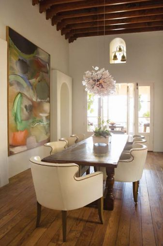 "Richard Saba's ""Lotus"" adds a burst of color to the dining room."