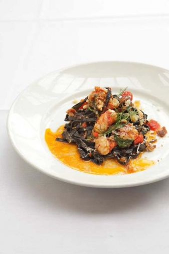 <a href='veritable-quandary-squid-ink-spaghetti-and-lobster'>Squid Ink Spaghetti and Lobster</a>. Cuggino suggests pairing this with a white wine from Oregon, such as Elk Cove Vineyards&rsquo; 2013 Willamette Valley Pinot Blanc.
