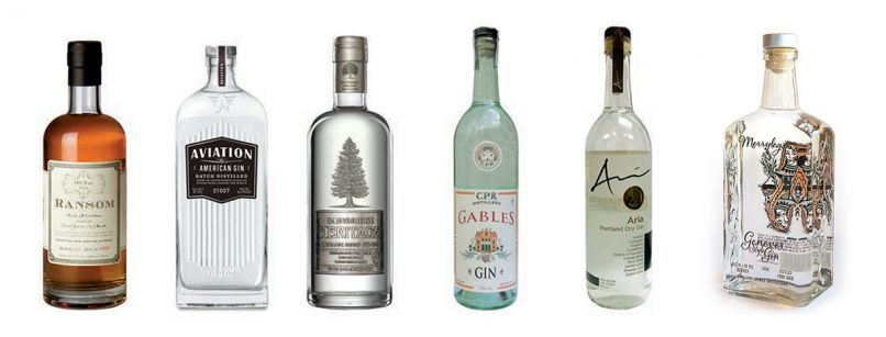 Our Northwest gin favorites include (L-R): 1) Ransom Old Tom /$34.00 Highly aromatic, spicy, and a touch of barely perceived sweetness. 2) Aviation Gin /$29.00 Fresh and spicy, but also elegant and earthy. 3) Bainbridge /$39.00 Heritage Doug Fir Gin Like a breath of mountain air in a glass. 4) Gables Gin /$29.00 Viscous, round, malty, but full of herbs and citrus. 5) Aria Portland Dry Gin /$23.00 Classy and polished expression of New London Dry style. 6) Merrylegs /$29.00 Genever Malty, herby, junipery, a fine sipping gin.