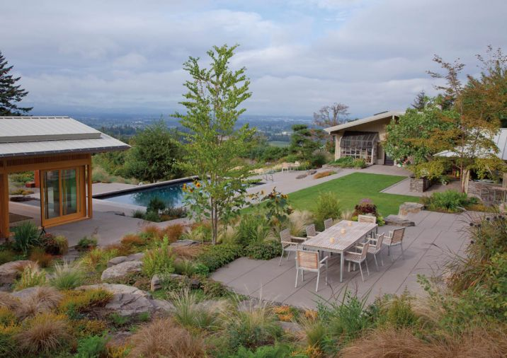 "Self-described ""strong extroverts,"" Maryellen and Michael McCulloch's patio, pool, and garden are built for entertaining. They regularly host charity dinners and special events on the terrace overlooking the Tualatin Valley and Coast Range, and Maryellen leads meditation walks through the revitalized lower pasture. Their garden was designed by a team of Northwest garden luminaries: Ann Lovejoy, Beth Holland, Laura Crockett, Eamonn Hughes, and John Greenlee."
