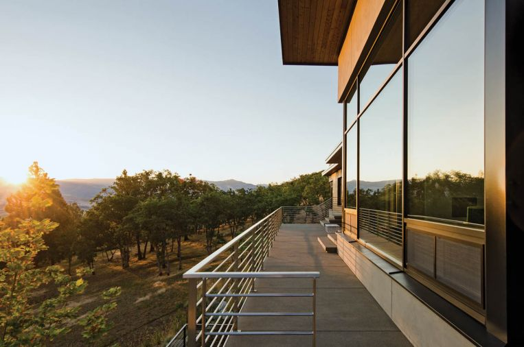 "Exterior railings are made of stainless steel, and much of the welding was done on site. ""The railings are so beautiful when the sun sets and the light glints off the edges,"" says Fillinger."