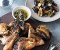 Ox Restaurant's Grilled Butterflied Whole Chicken with Grilled Figs, Manouri Cheese and Lentil Chimichurri. This recipe uses an indirect heat method that is one of the foundations to open-fire cooking in South America.