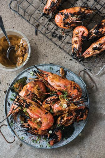 Ox Restaurant&rsquo;s <strong><a href='grilled-head-on-spot-prawns-with-garlic-green-onion-and-sumac'>Grilled Head-On Spot Prawns with Garlic, Green Onion and Sumac</a>.</strong> &ldquo;Grilling restaurant- worthy fish barely requires any preseasoning, skinning or shelling,&rdquo; write Greg Denton and Gabrielle Quinonez Denton.