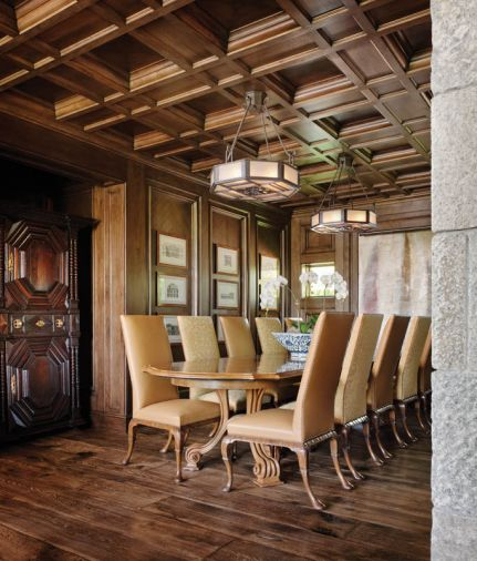 Paul Ferrante chandeliers hang from a coffered ceiling above a Therien & Co. dining table. Chairs from Dennis & Leen. Flooring by Exquisite Surfaces. Sevigny's team painstakingly coped hundreds of intricate pieces needed to keep a tight fit for the coffered ceilings.