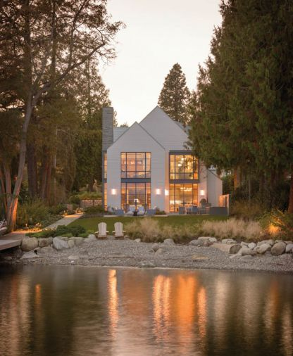 What began as a 1940s Cape Cod remodel became one of the most cutting-edge new homes on Lake Washington thanks to Stuart Silk Architects and Amy Baker Interior Design's harmonious marriage of traditional and contemporary styles.