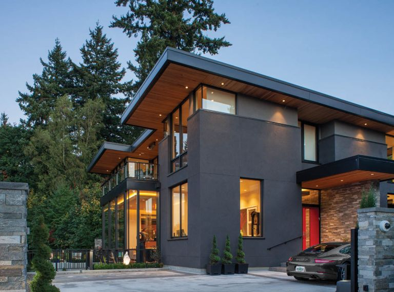 Scott Edwards Architecture designed this 6,500 square foot home in Portland's West Hills to capture and frame its incredible views of downtown Portland and Mt. St. Helens.