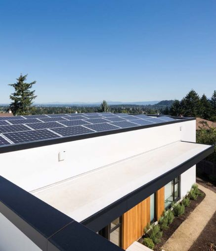 Sustainability features were built into Ash+Ash at literally every level, from a geo-exchange system buried around the perimeter of the property to a 10 KW photovoltaic array on the roof of the house.