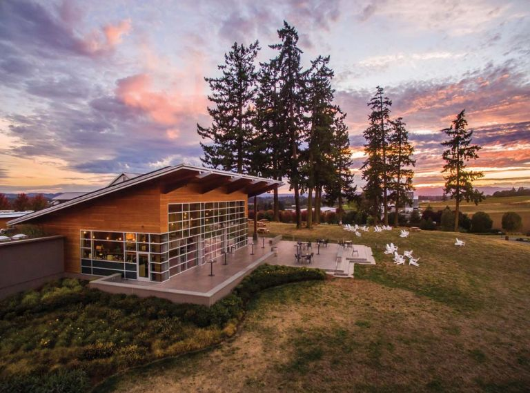 Stoller Family Estate's net zero tasting room in Dayton, Oregon.