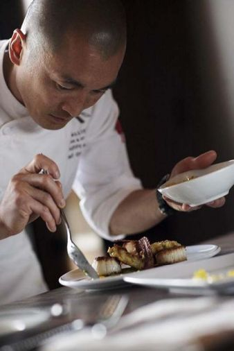 Chef Jin plates with artistic flair and careful detail.